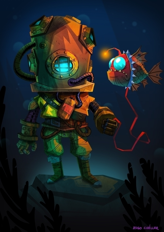 DIVER - illustration, painting, characterdesign - hugocuellar | ello