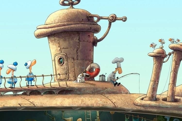 sailed sun - illustration, characterdesign - yustas | ello