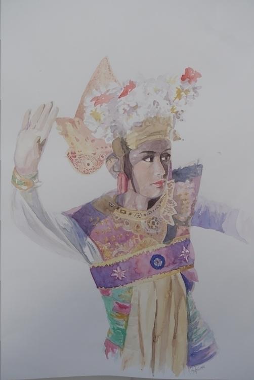 Balinese Dancer A3 watercolor P - andryz_a | ello