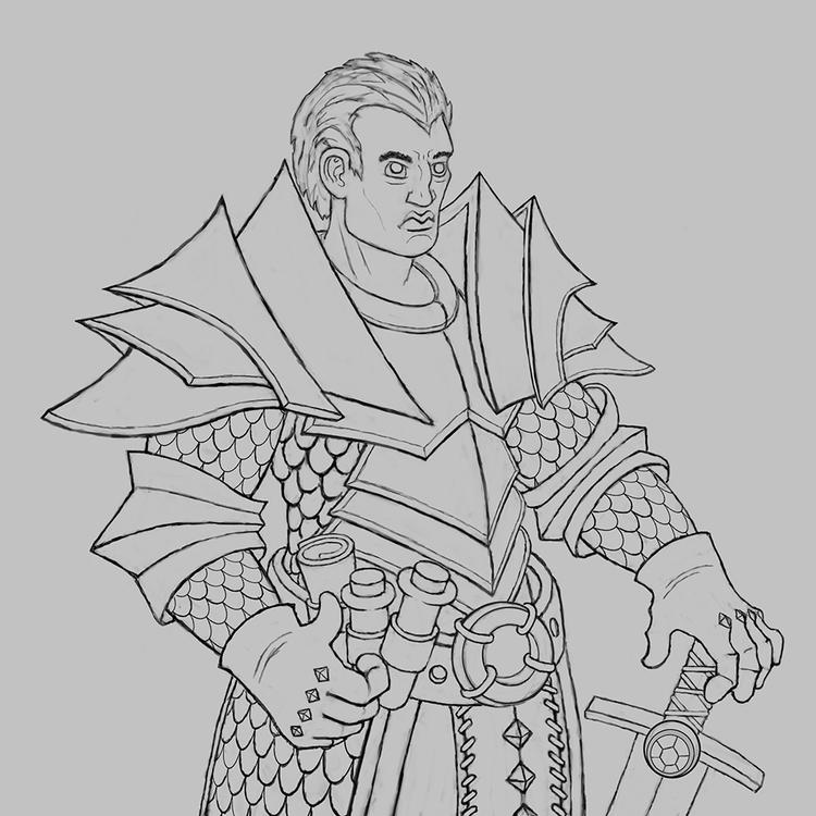 Warrior Sketch - sketch, knight - kamilteczynski | ello
