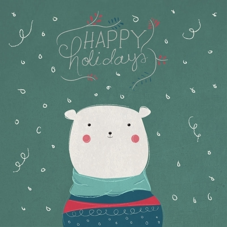 Christmas Bear - illustration, bear - marygrillet | ello