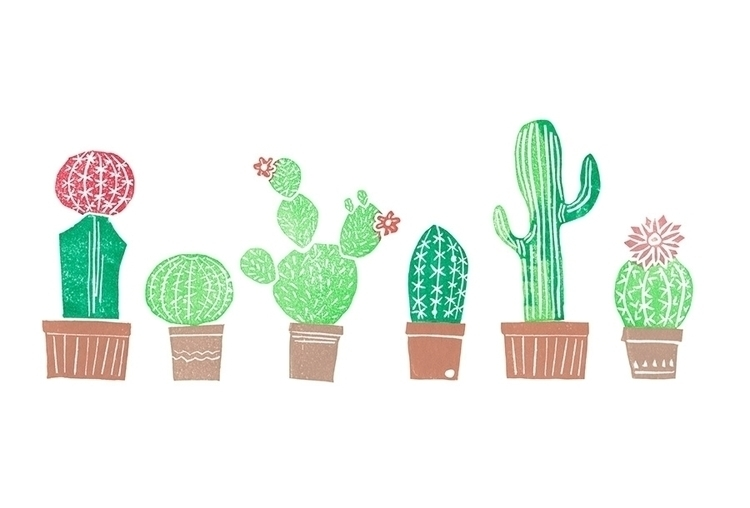 Cactaceae. Carved stamps paper - isabelvalfigueira   ello