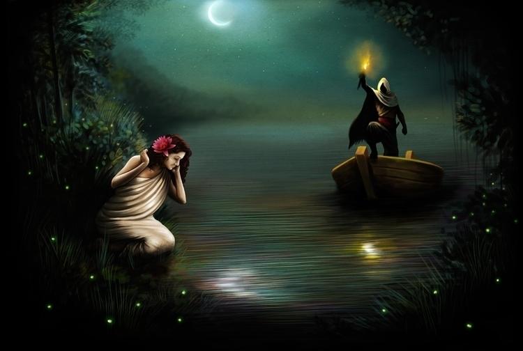 Moon light - illustration, painting - lnpbr_b9 | ello