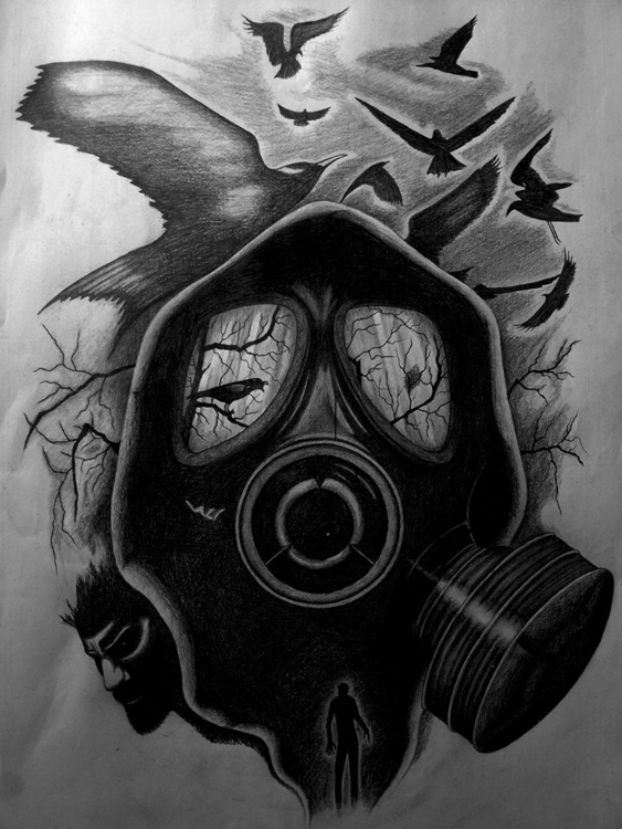 Gas mask - drawing - steven-8489 | ello