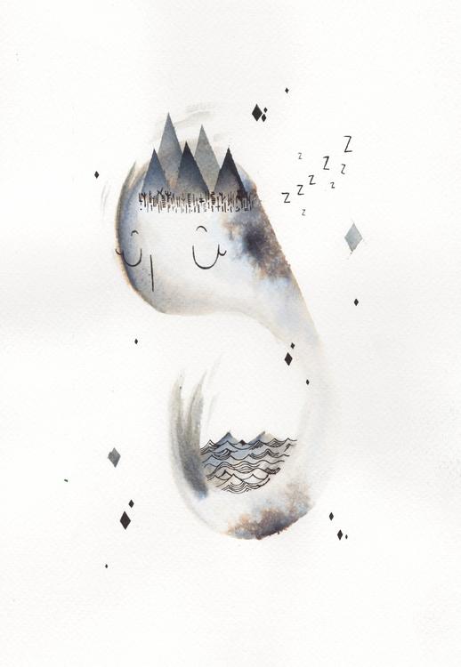 Resting mountain sea - illustration - laurabracamonte | ello