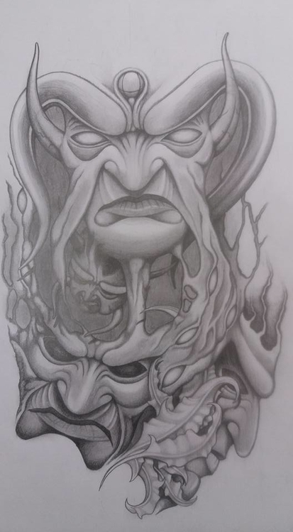 Demon faces - drawing - steven-8489 | ello
