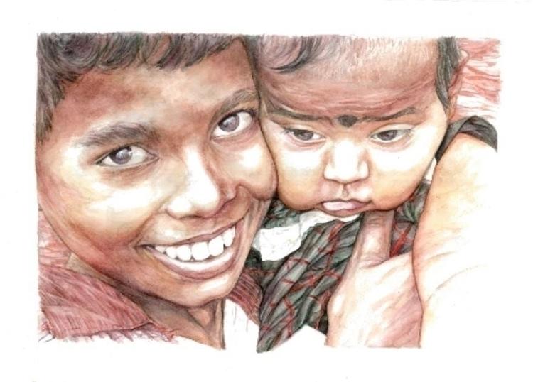 Indian guys - portrait, watercolor - alexideo | ello