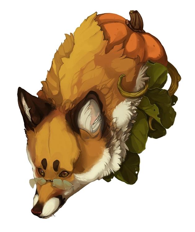 halloweeny fox - halloween, pumpkin - uru-1113 | ello