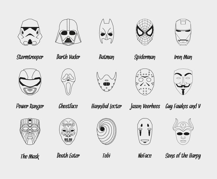 Icons set popular masks - icons - dani_p | ello