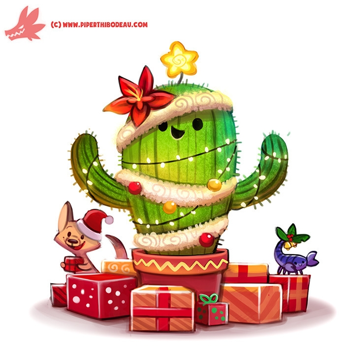 Daily Paint Christmas Cactus - 1128. - piperthibodeau | ello