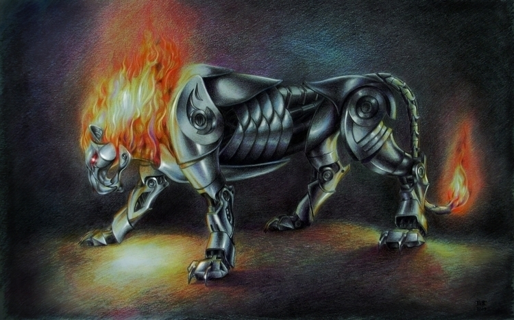 iron Lion - illustration, painting - lnpbr_b9 | ello