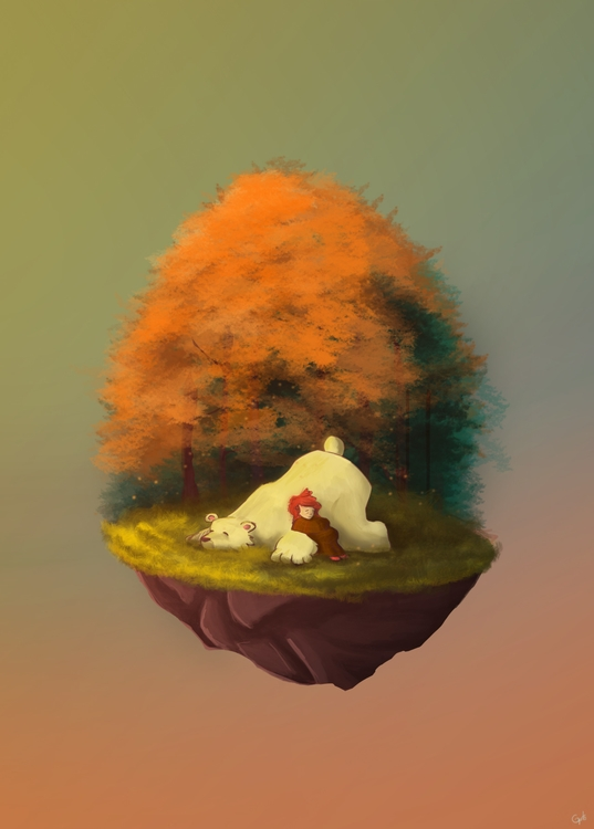 Bear girl - illustration, painting - gutoartwork   ello