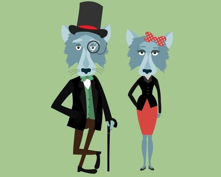couple Wolves - wolf, wolves, characterdesign - georgemussel | ello