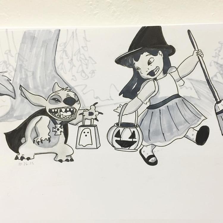 disney, lilostitch, fanart, halloween - roxanneeee | ello