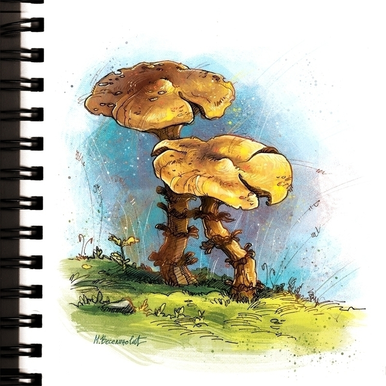 Mushrooms - mushrooms, drawing, illustration - marinaveselinovic | ello