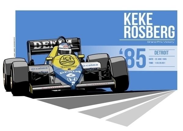 Keke Rosberg - 1985 Detroit - illustration - evandeciren | ello