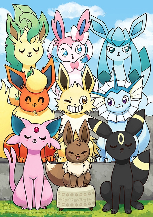 Eeveelution family portrait - eeveelution - alexandrasketch | ello