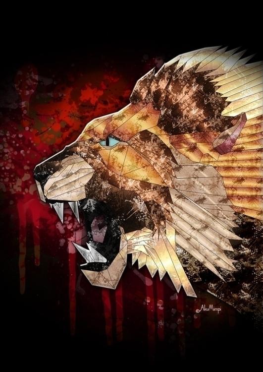 Lion - illustration, animals, pattern - akumimpi   ello