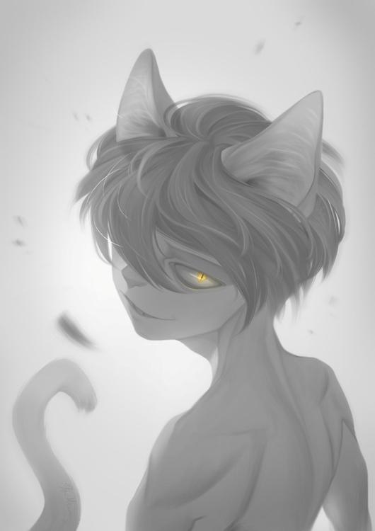 fourth cat boy - catboy, grey, illustration - meammy | ello