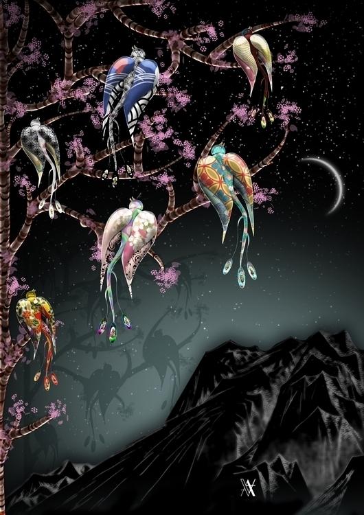 Birds - illustration, photoshop - akumimpi | ello