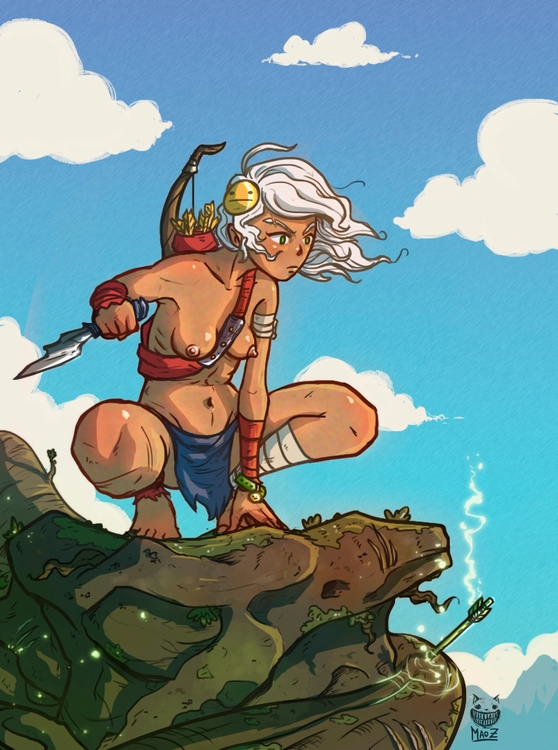 Huntress NightmareFalls - illustration - maodraws | ello