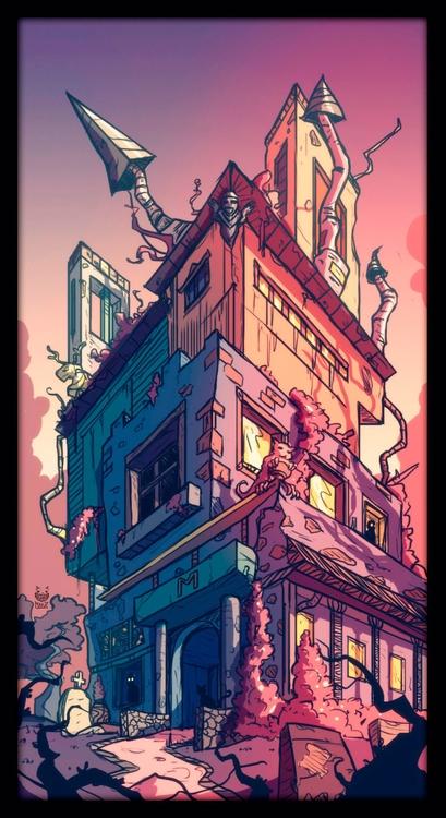 Haunted House - illustration, drawing - maodraws | ello