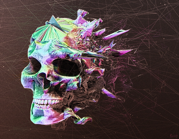 Exploding Skull - 3d, illustration - lpetty | ello