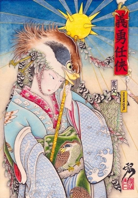 Hawkgirl style - illustration, painting - kota_nakatsubo | ello