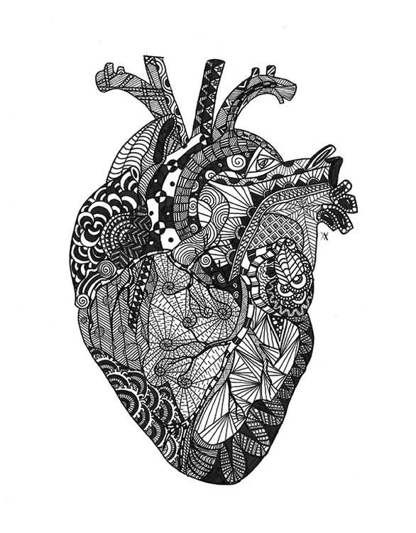 Heart - illustration, drawing, zentangle - akumimpi | ello