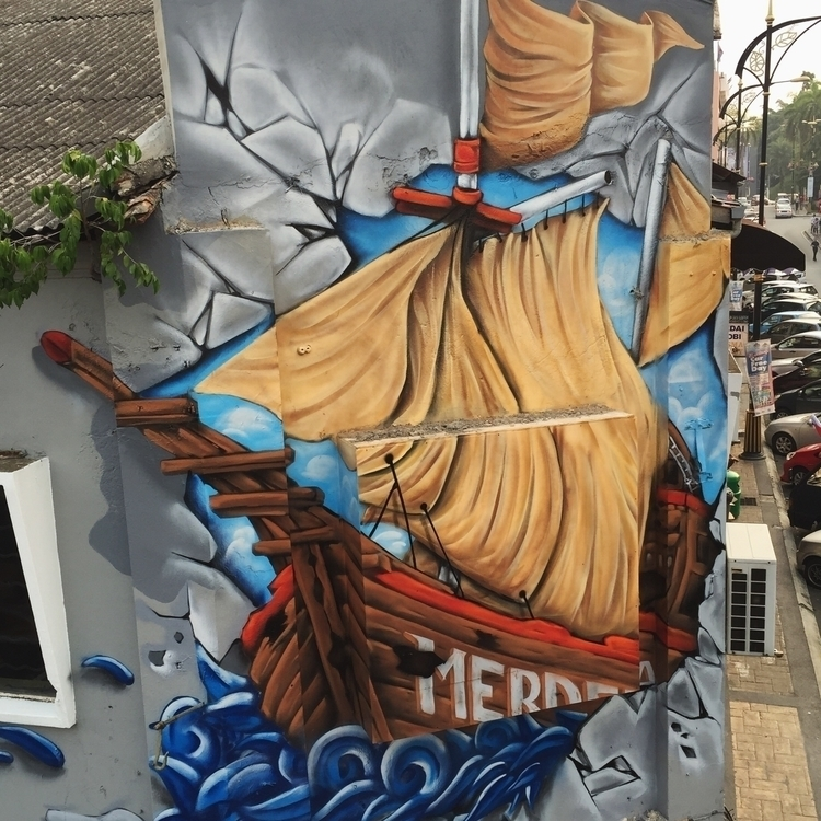 'Bahtera Merdeka' view - mural, streetart - snaketwo | ello