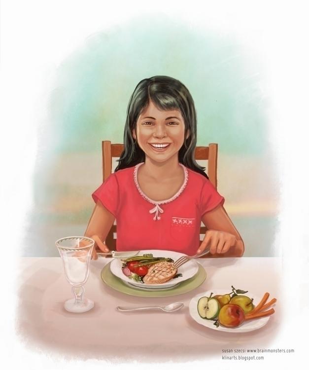 Beautiful Hispanic girl eating  - brainmonsters | ello