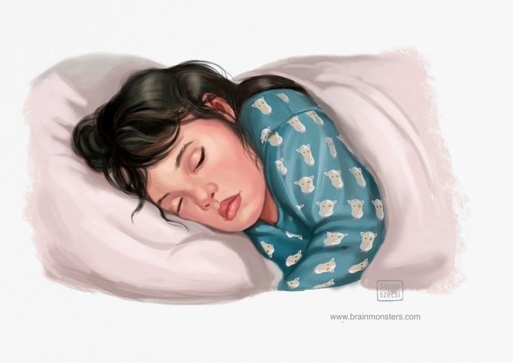 girl sleeping closed mouth.Illu - brainmonsters | ello