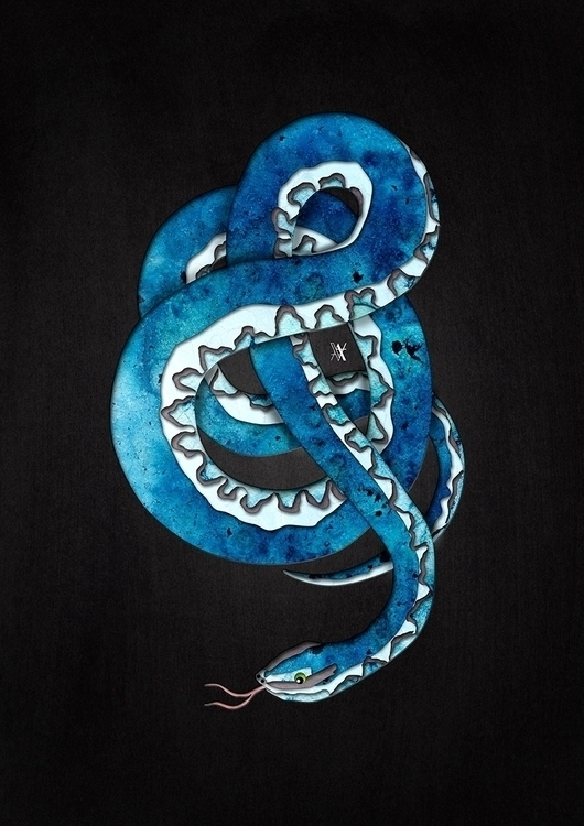 Blue Snake - illustration, digitalart - akumimpi | ello