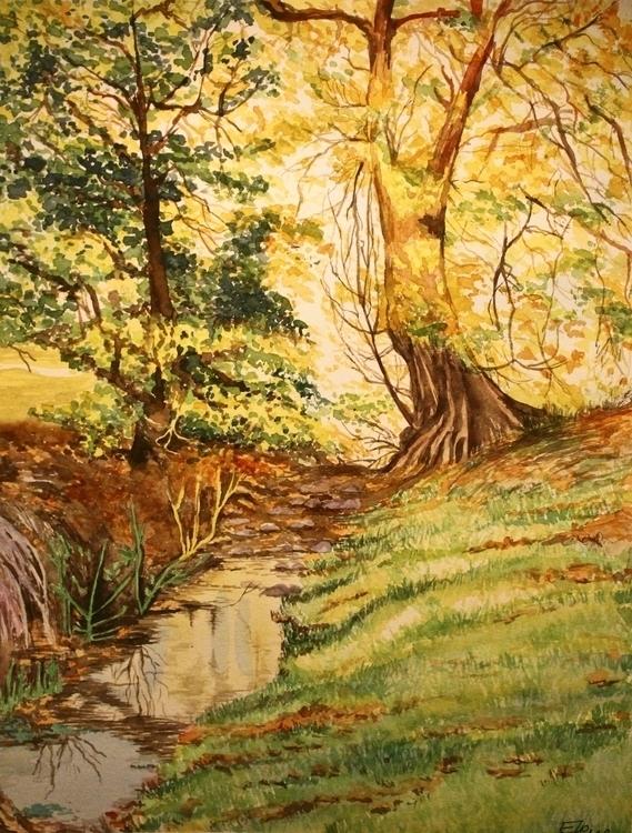 Fall - painting, watercolor, wood - elenamantovan | ello