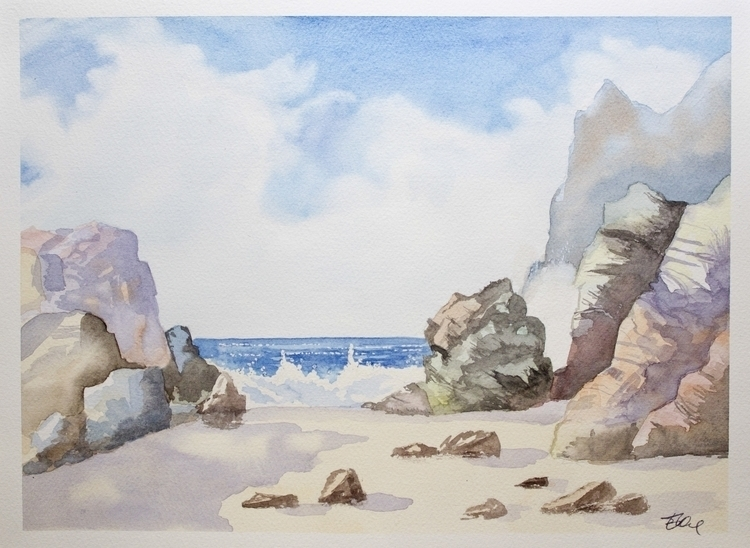 Rocks - sea, shore, watercolor, painting - elenamantovan | ello