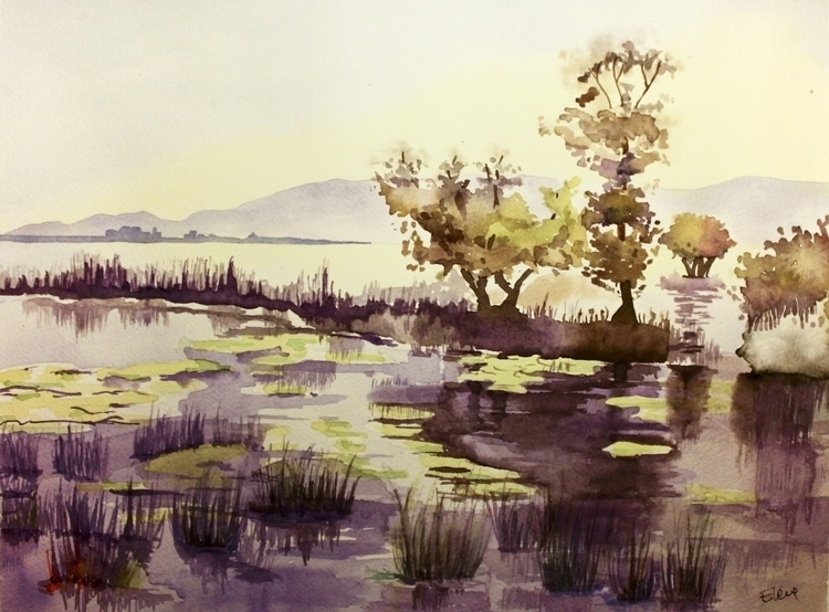 Purple Lake - lake, landscape, watercolor - elenamantovan | ello