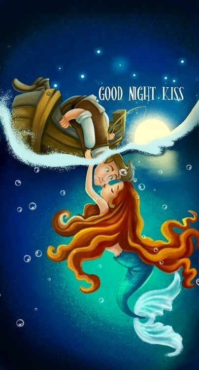 Good Night Kiss - illustration, drawing - wenfancy   ello