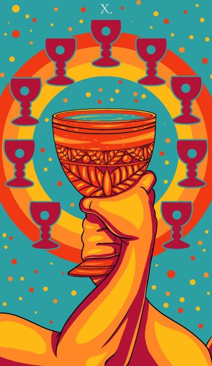 Ten Cups - illustration, tarot - wingywonky-5811 | ello