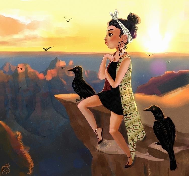 Grand Canyon - illustration, girl - carrotrain | ello