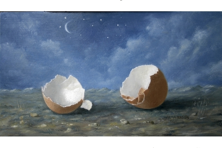 Eggs moon, oil panel, 12x22 cm - marina-7013 | ello
