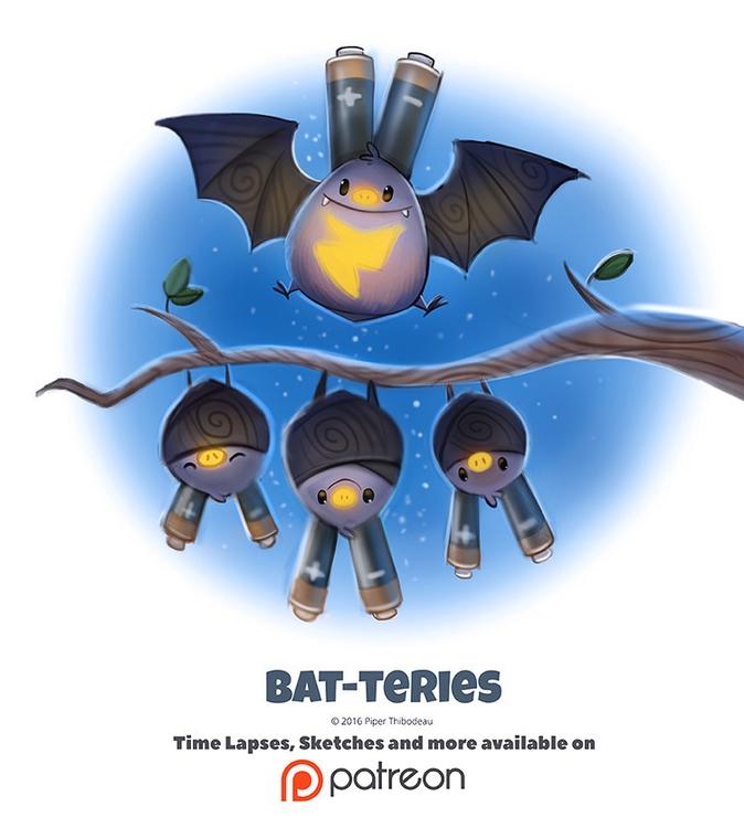 Day 1377. Bat-teries - piperthibodeau | ello