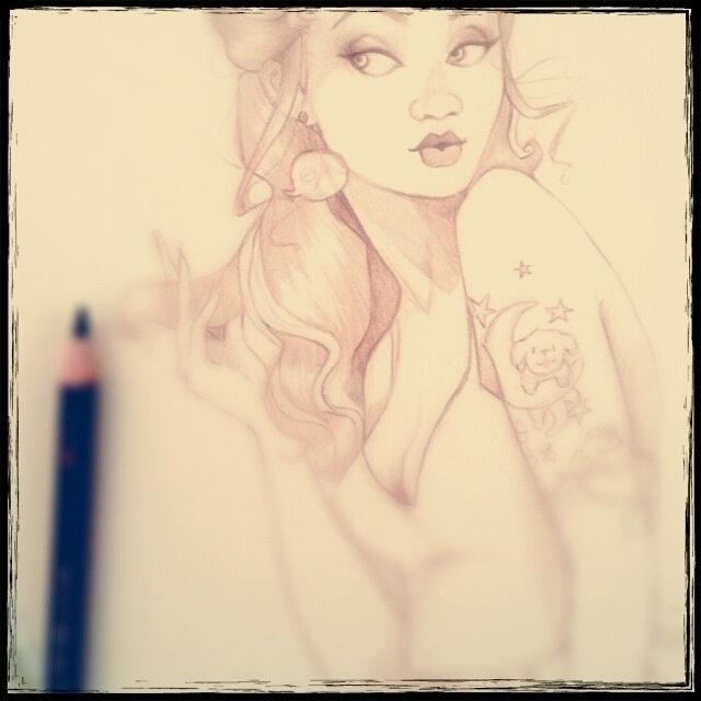 Tattooed pin girl sketch - pinup - gemini-1318 | ello