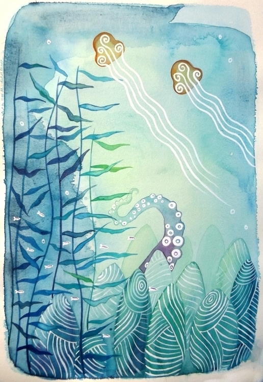 Sea'- watercolor acrylic Inspir - izzywoolley | ello