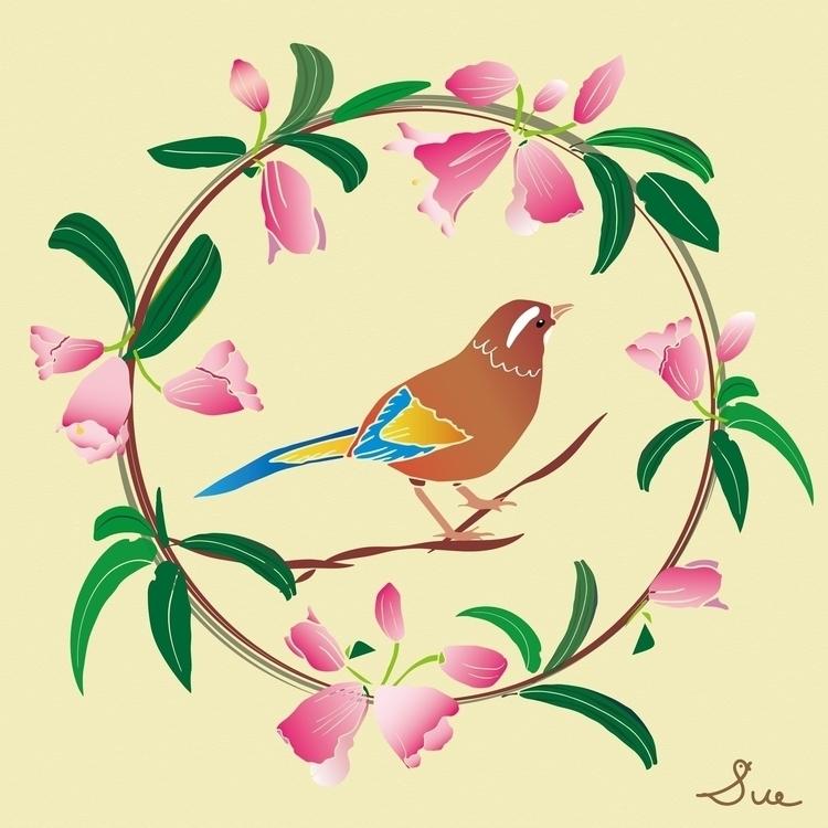 rhododendron thrush - illustration#digitalart#design#characterdesign#photoshop#painting#davisvrworks#drawing#conceptart - moonlighttwosu | ello