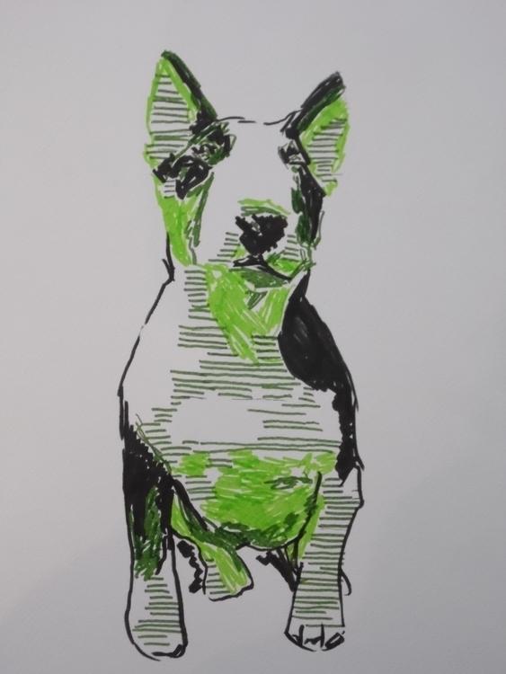 Bull Terrier - illustration, bullterrier - kleckerlabor-5193 | ello