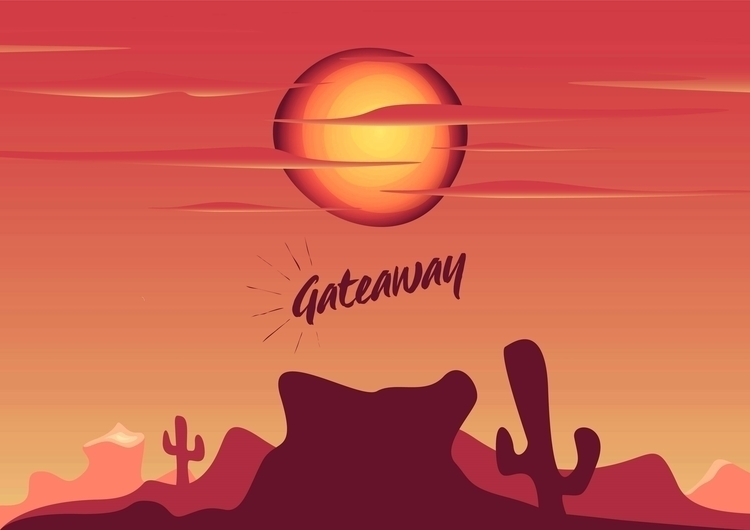 red sunset - illustration, design - dnscr | ello