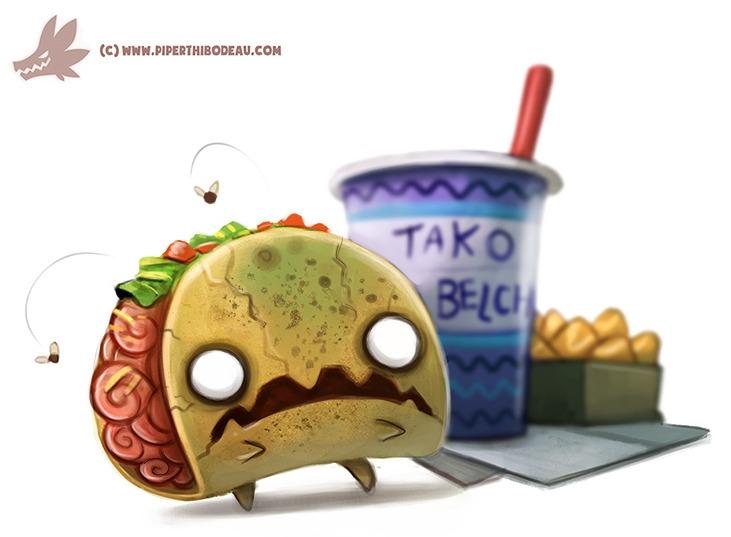 Daily Paint Zombie Taco - 1063. - piperthibodeau | ello