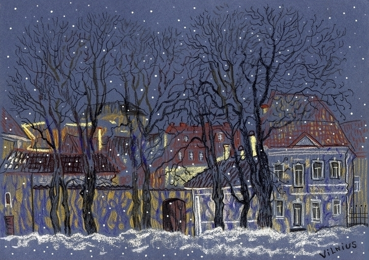 winter Vilnius - illustration, snow - naktisart | ello