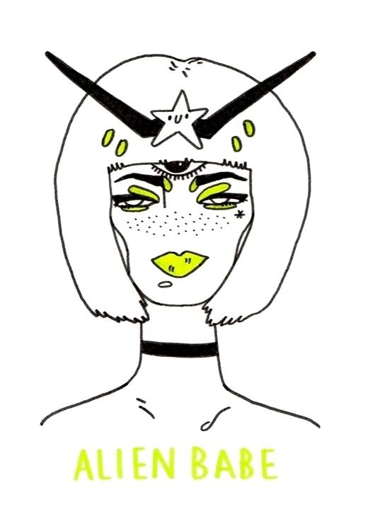risograph print - aliengirls, alienbabe - alxndracook | ello