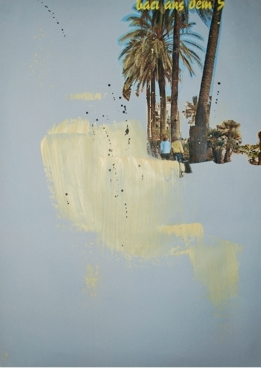 BLANK PALM TREES - collage, painting - kimbogruff | ello